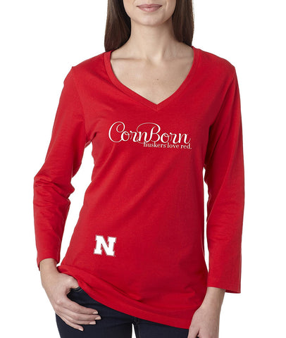 "Women's Nebraska Cornhuskers CornBorn Script ""huskers love red"" Missy 3/4 Sleeve V-Neck Shirt"