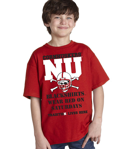 "Nebraska Cornhuskers Football Tradition Lives Here ""Blackshirts"" Youth Boys Tee Shirt"