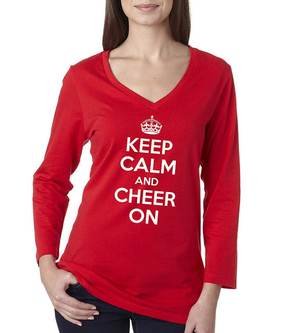 "Women's ""KEEP CALM and CHEER ON"" Missy 3/4 Sleeve V-Neck Shirt"