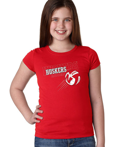 "Nebraska Cornhuskers Volleyball ""Huskers Huskers Huskers"" Youth Girls Tee Shirt"