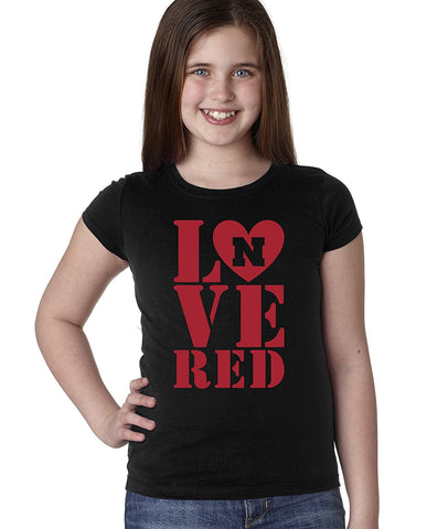Nebraska Cornhuskers Stacked LOVE N RED Youth Girls Tee Shirt