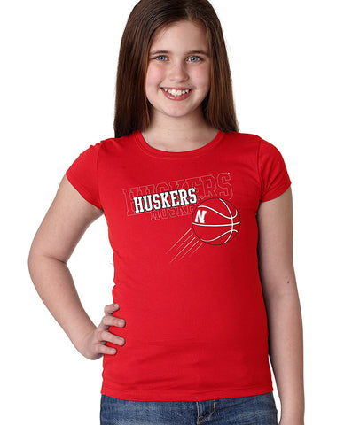 "Nebraska Huskers Basketball ""Huskers x 3"" Youth Girls Tee Shirt"