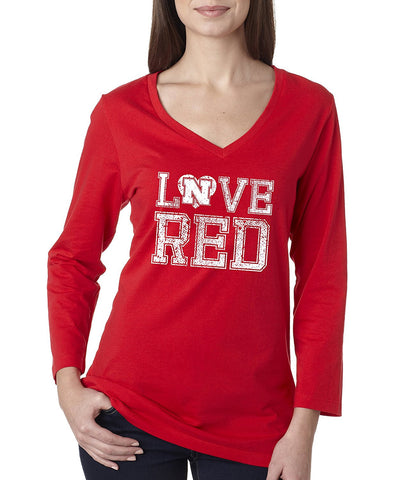 "Women's Nebraska Cornhuskers Hero ""LOVE RED"" Missy 3/4 Sleeve V-Neck Shirt"