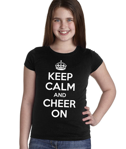 """KEEP CALM and CHEER ON"" Youth Girls Tee Shirt"