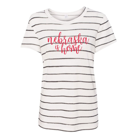 NEBRASKA IS HOME STRIPED TEE - NEBRASKA STATE SHIRT