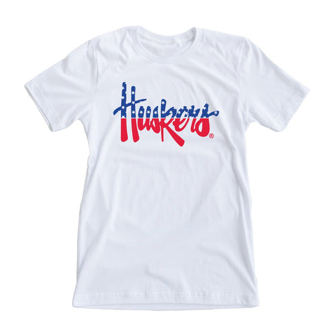 RED WHITE AND BLUE - AMERICA HUSKERS TEE