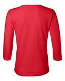 Women's Nebraska Huskers Volleyball ROOF ROOF ROOF 3/4 Sleeve V-Neck Top