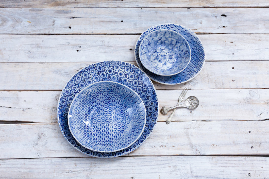16 Piece Dinner Set - Blue Patterned