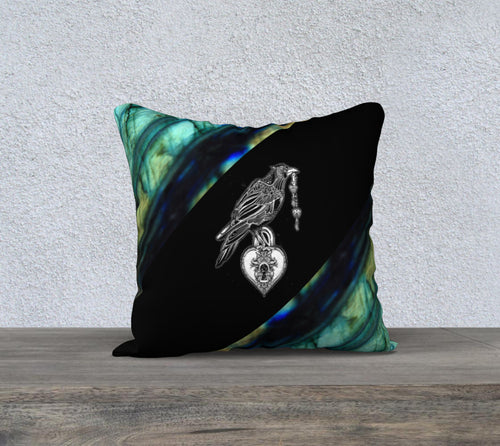 Robin Zendayah Environmental Alchemy Pillow Case - Labradorite Raven