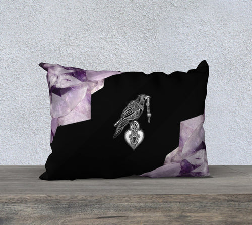 Robin Zendayah Environmental Alchemy Pillow Case - Amethyst Raven