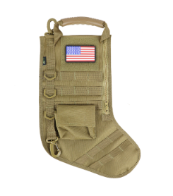 RUCK UP TACTICAL CHRISTMAS STOCKING WITH USA PATCH - KHAKI