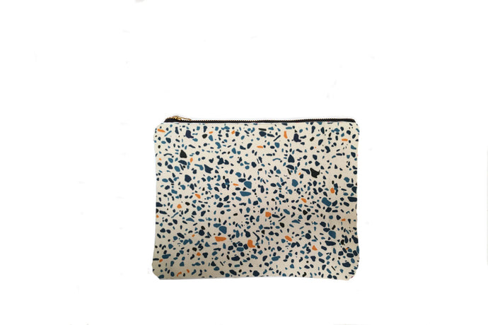 Make up Bag in Blue Terrazzo