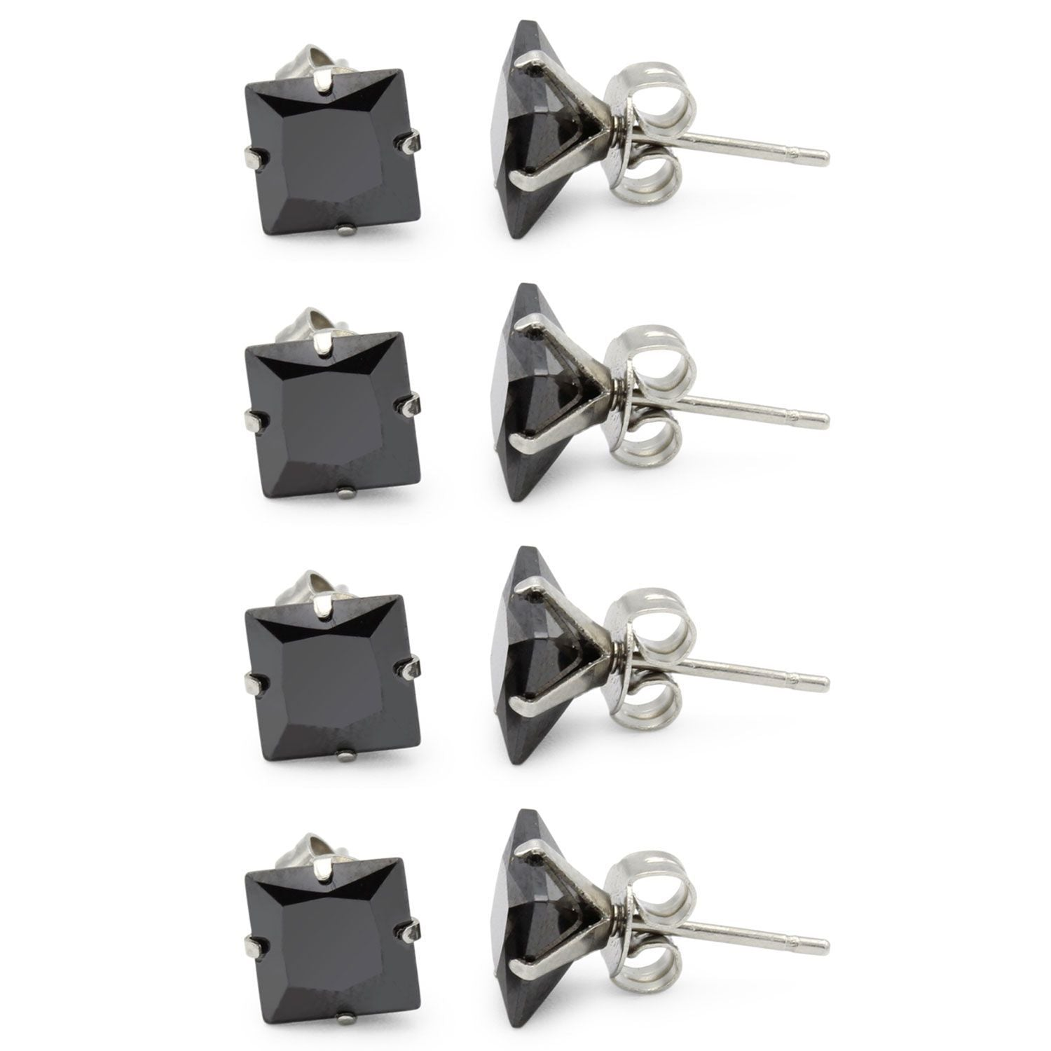 Stud Earring Set of 4 Cubic Zirconia Earrings Shinny Unisex Black Square Ear Jewelry