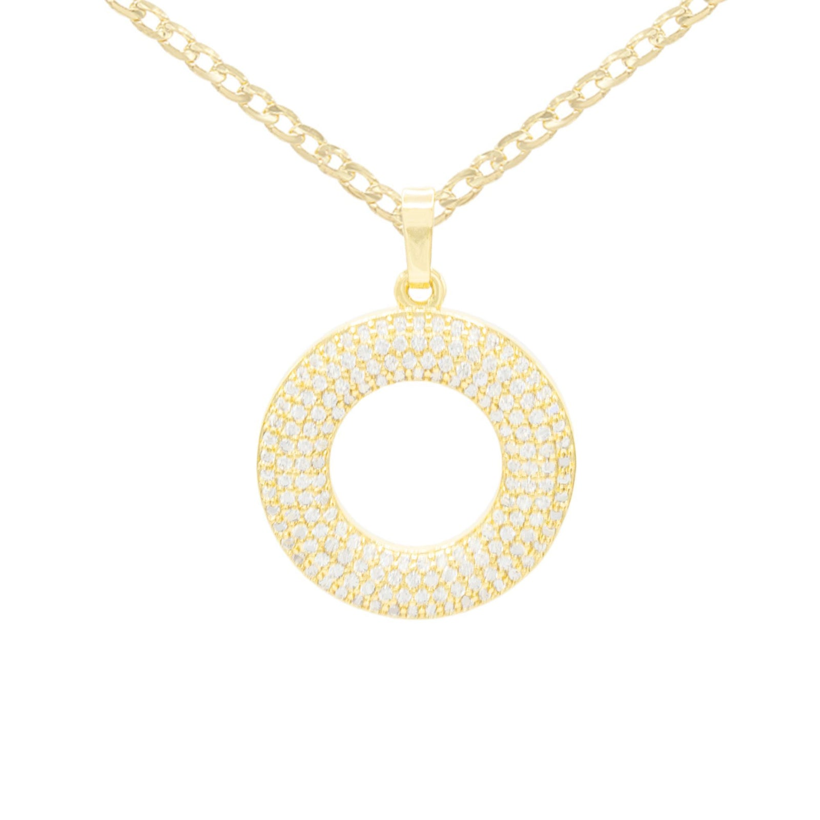 Round Cubic Zirconia Pendant With Necklace Set 14K Gold Filled