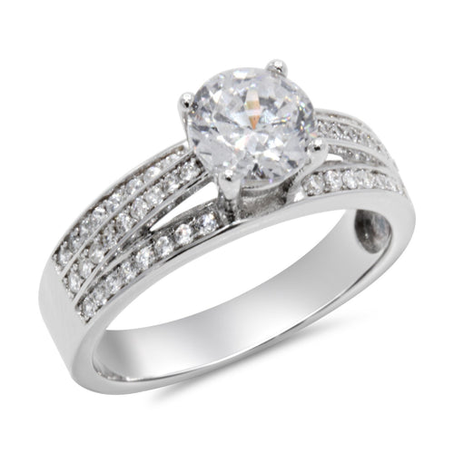 CZ 6mm Elegant Sterling Silver Plated Crossover Halo Engagement Ring