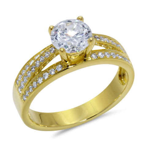 CZ 6mm Center Stone Sterling Silver Gold Plated Crossover Halo Engagement Ring