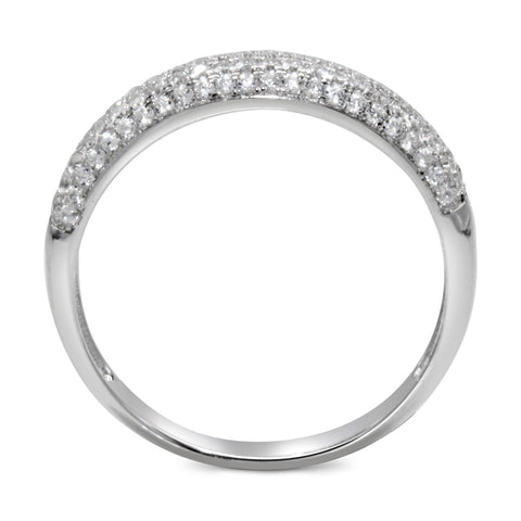 CZ 4mm Band Vintage White Gold Plated Sterling Silver Ring, Engagement Ring