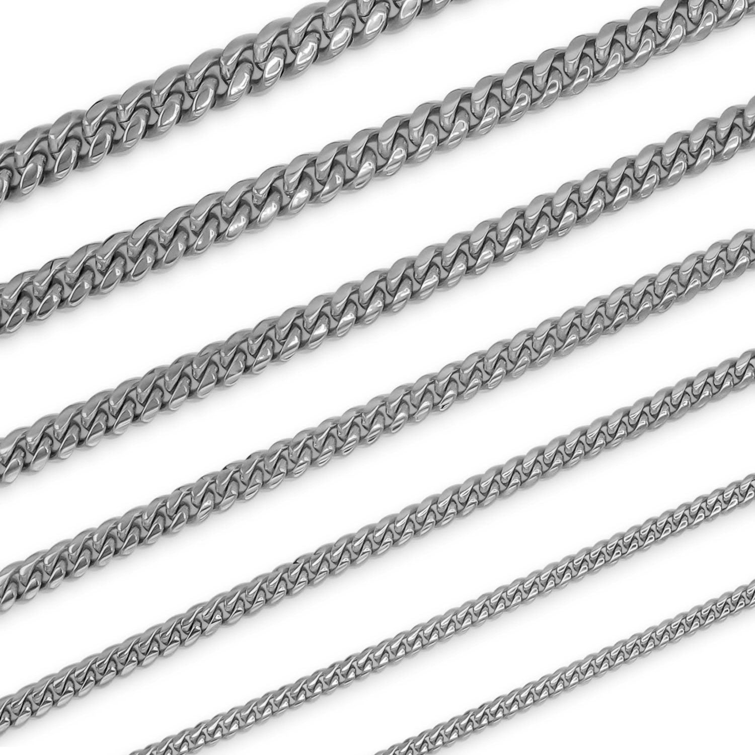 "Cuban Link Chain Curb Silver Necklace 30"" Bracelet 9.5"" Set Stainless Steel"