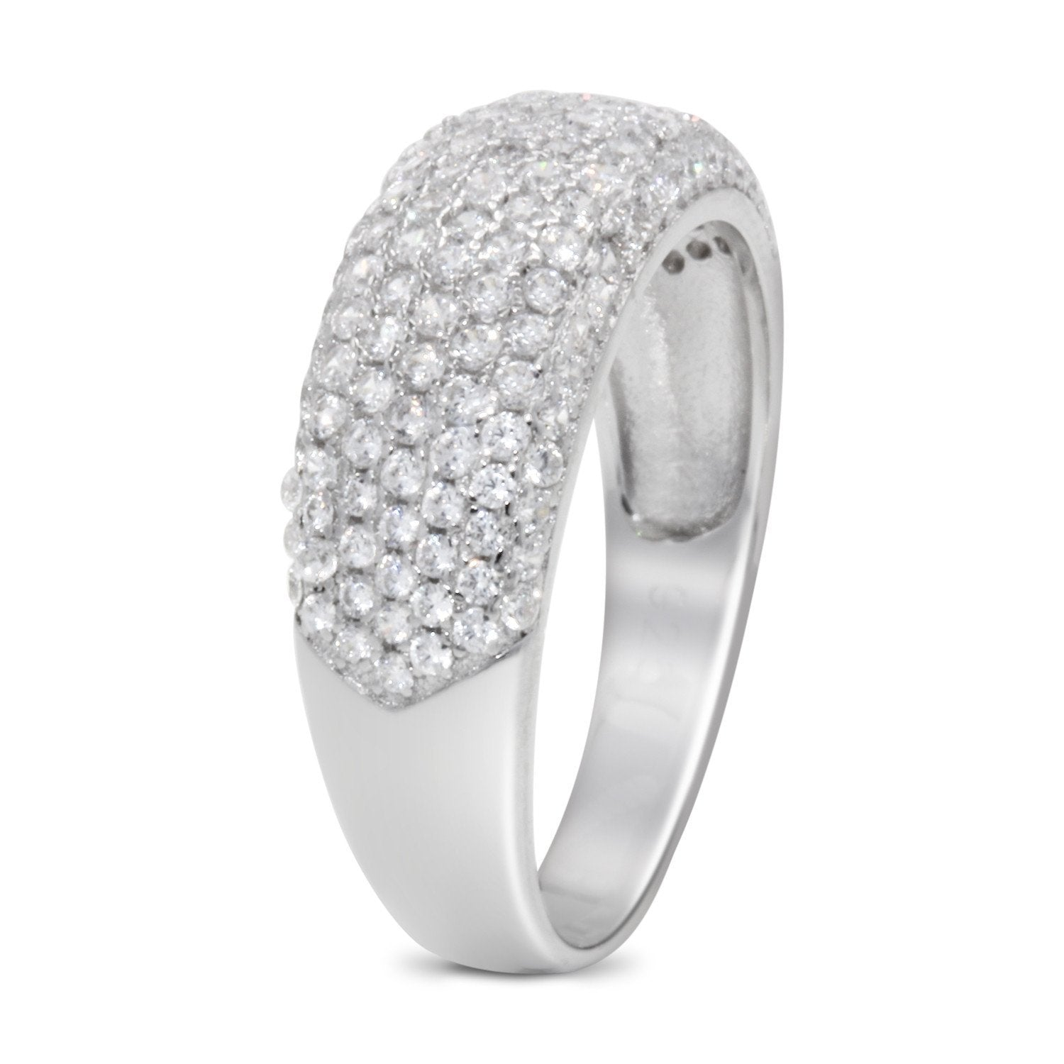 CZ 5mm Sterling Silver Plated Diamond Stimulant Band Engagement Ring