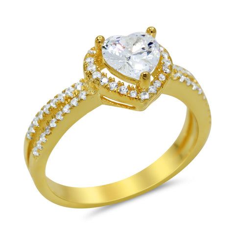 Heart Shaped Cubic Zirconia Ring in Gold Plated Sterling Silver