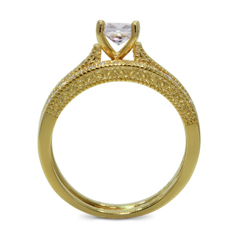 CZ 5mm Center Stone Sterling Silver Gold Plated Crossover Halo Wedding, Engagement Ring Set Size 8