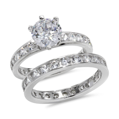 CZ 5mm Center Stone Sterling Silver Plated Crossover Halo Wedding, Engagement Ring Set