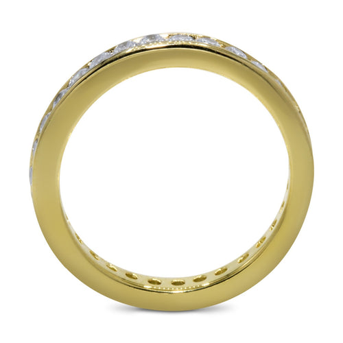 CZ 5mm Round Sterling Silver Gold Plated Crossover Halo Engagement Ring Set