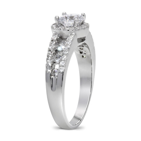 CZ 5mm Center Stone Sterling Silver Plated Crossover Halo Engagement Ring