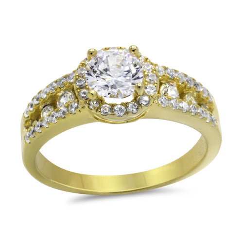 CZ 5mm Center Stone Gold Engagement Ring