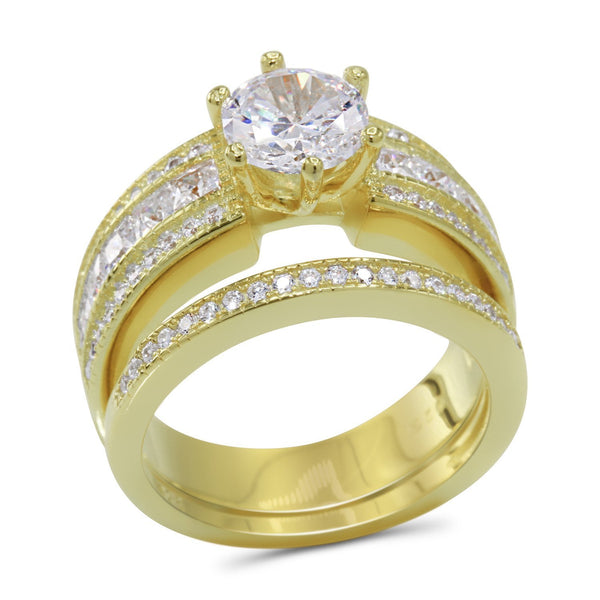 Round Cubic Zirconia Wedding Ring Set