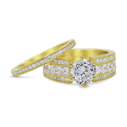 CZ 5mm Sterling Silver Gold Plated Halo Accents Antique Filigree Bridal Sets Elegant Gold Ring