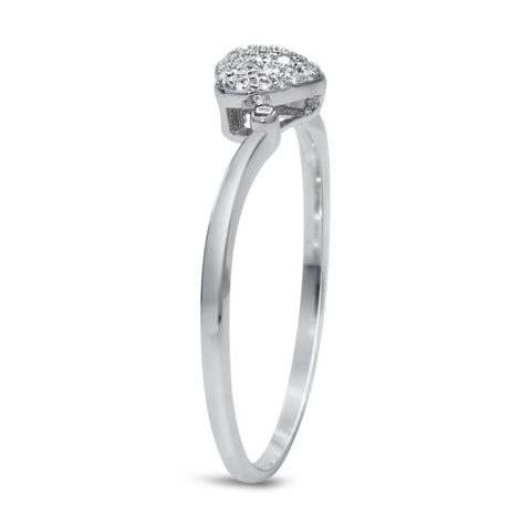 CZ 5mm Sterling Silver Plated Heart Shaped Crossover Halo Engagement Ring