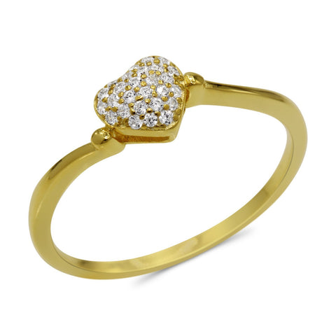 CZ 5mm Sterling Silver Gold Plated Heart Shaped Crossover Halo Engagement Ring