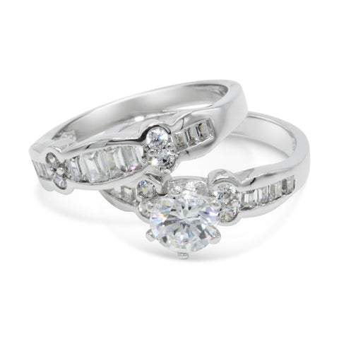 CZ 5mm Center Stone Sterling Silver Plated Crossover Halo Wedding Bridal Set, Engagement Ring