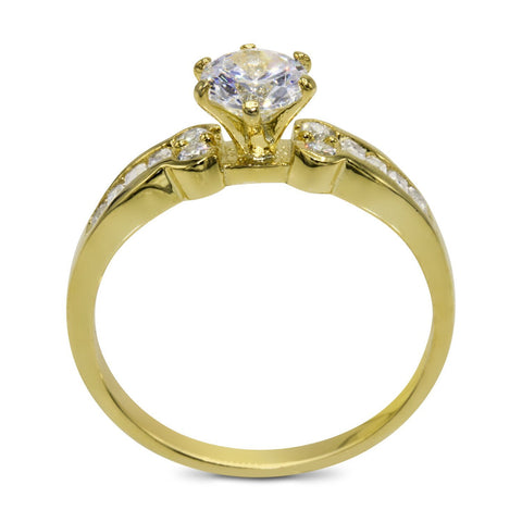 CZ 5mm Sterling Silver Gold Plated Crossover Halo Wedding Bridal Set, Engagement Ring