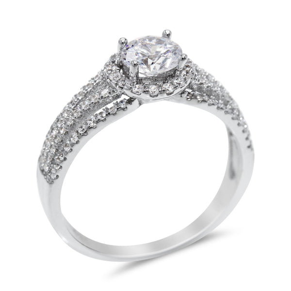 Cubic Zirconia Floating Halo Engagement Ring in Sterling Silver