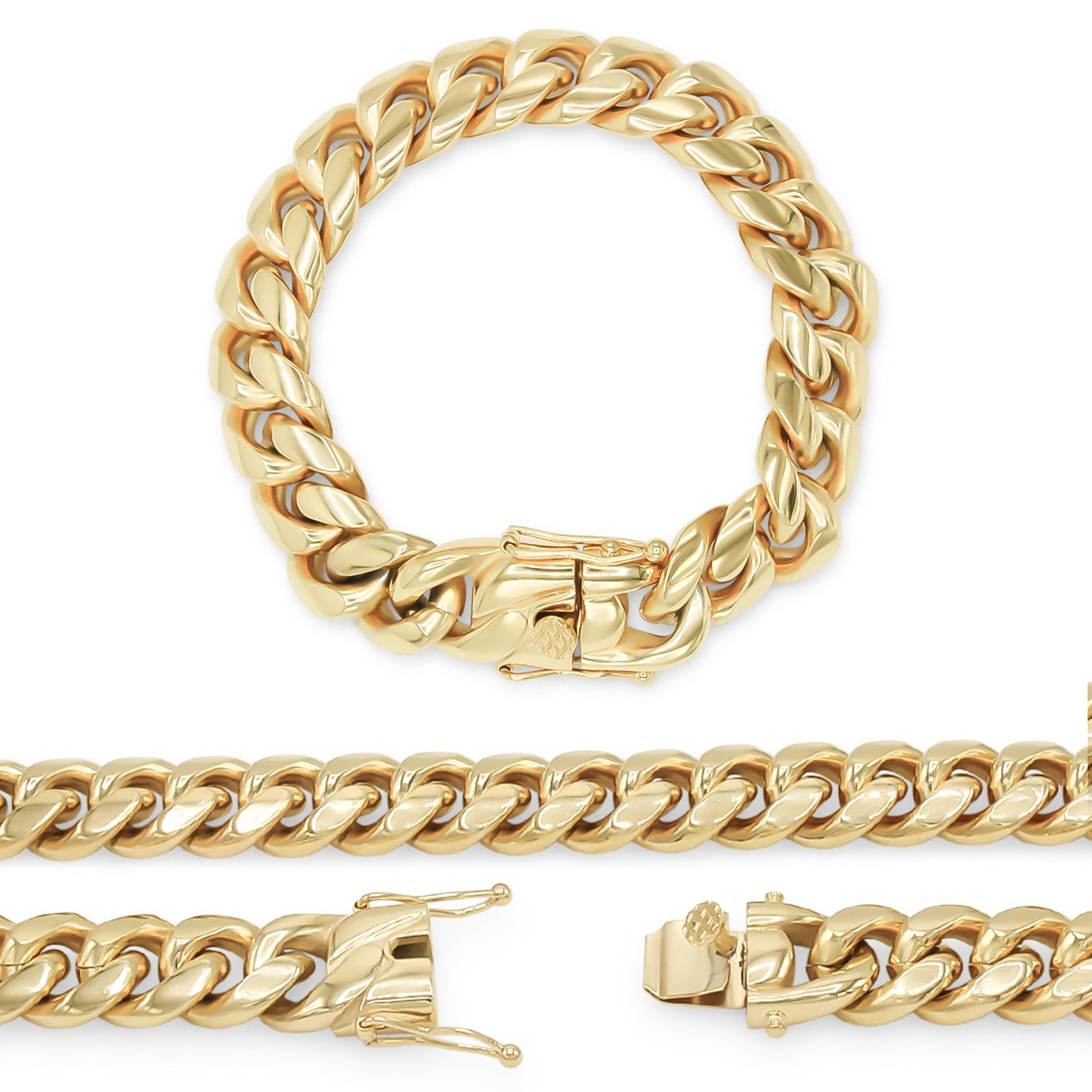 "Cuban Link Chain 14K Gold Plated Curb Bracelet 9.5"" Stainless Steel"