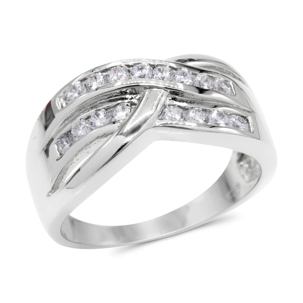 CZ Accent Stones Sterling Silver Plated Crossover Halo Engagement Ring