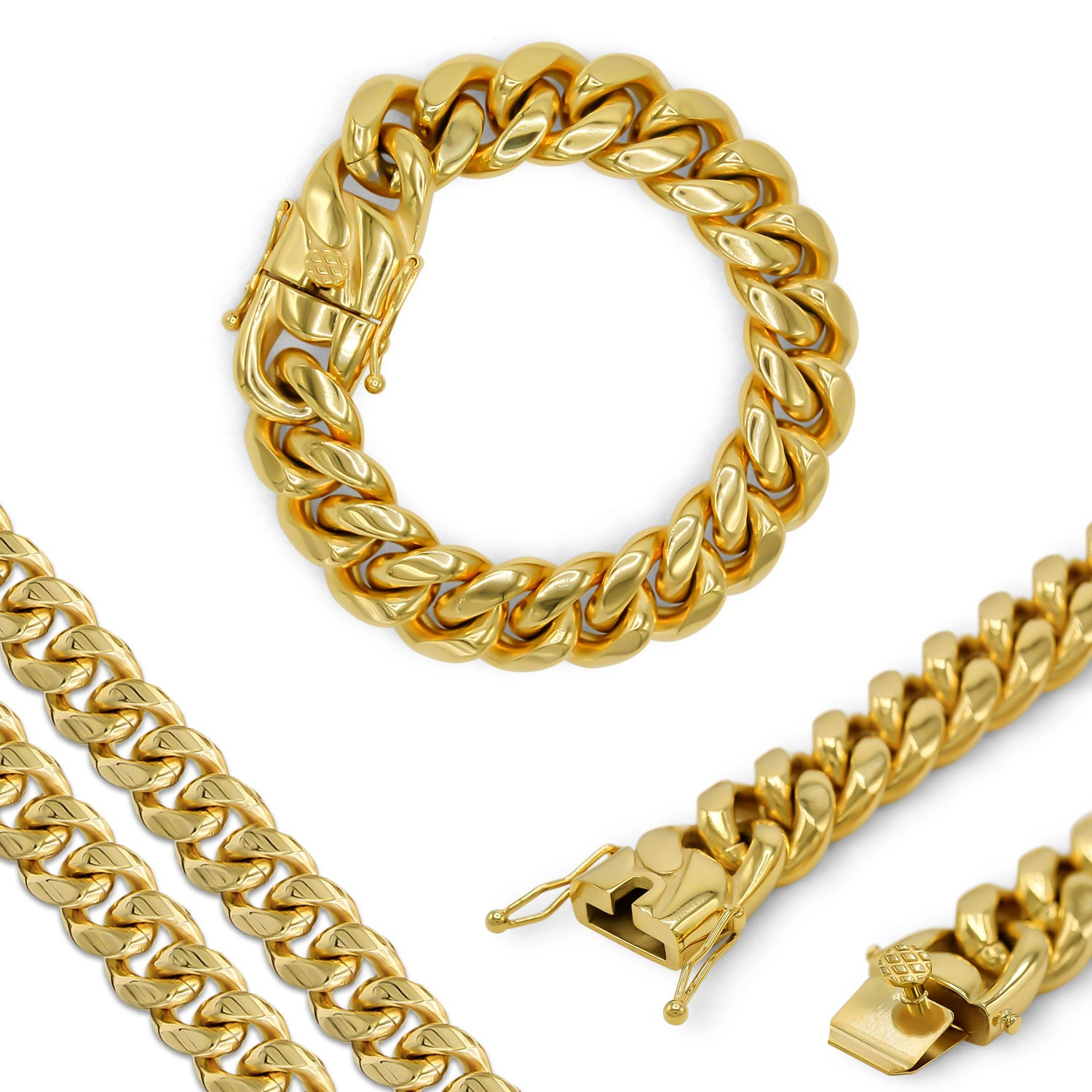 "Cuban Link Chain Curb 18K Gold Plated Bracelet 9.5"" Stainless Steel"