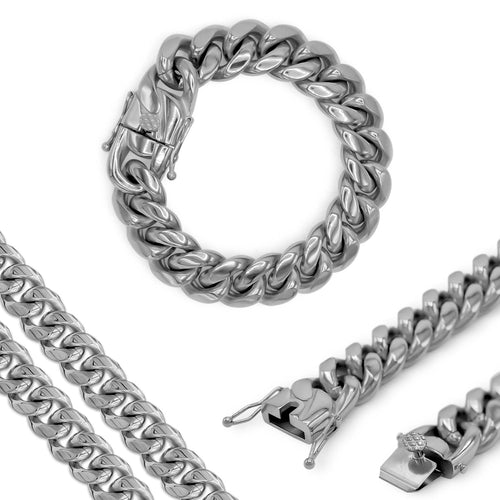 "Cuban Link Chain Curb Silver Bracelet 9.5"" Stainless Steel"