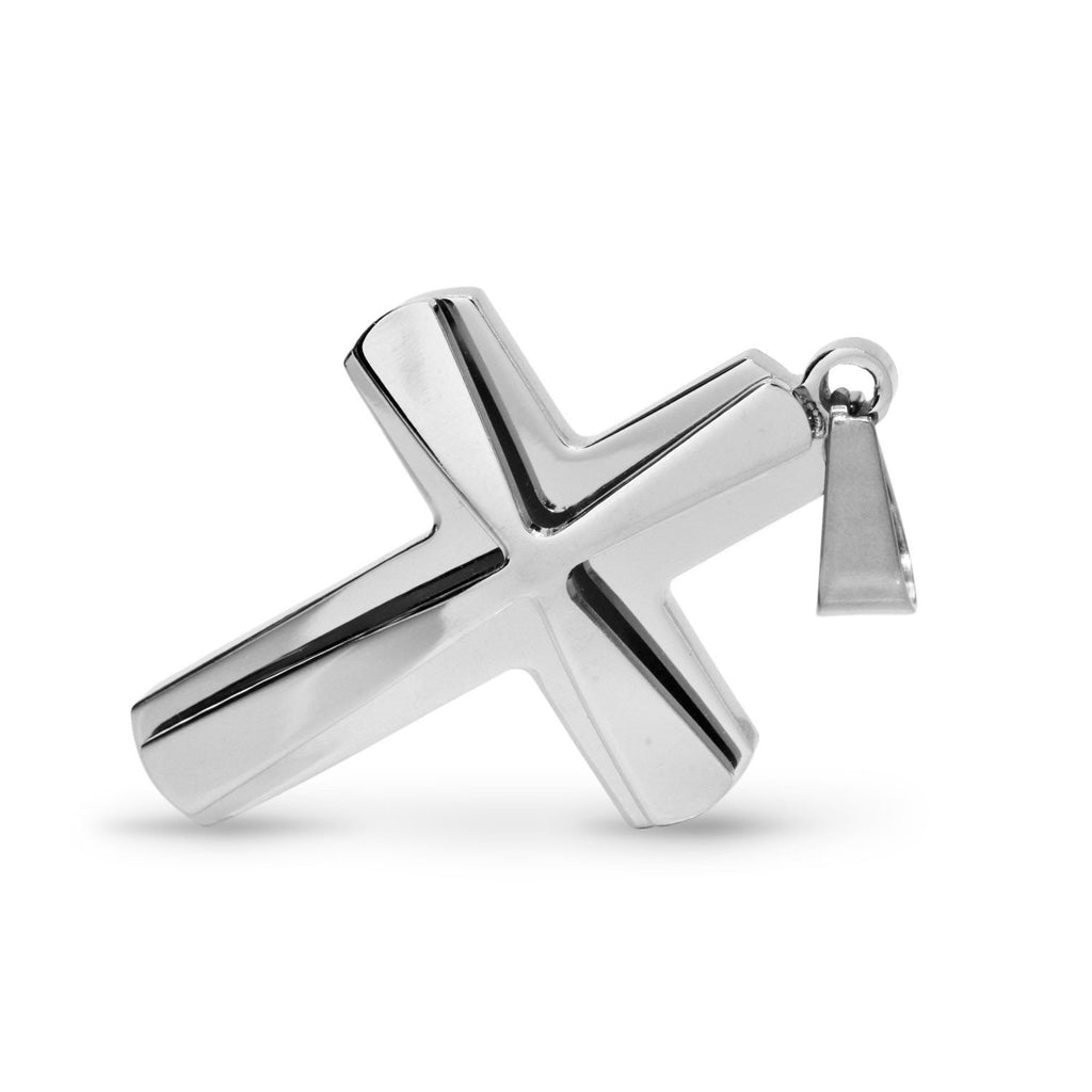 BEBERLINI Cross Pendant Stainless Steel Double Layer Men Prayer Cross Bead Charm Fashion Jewelry
