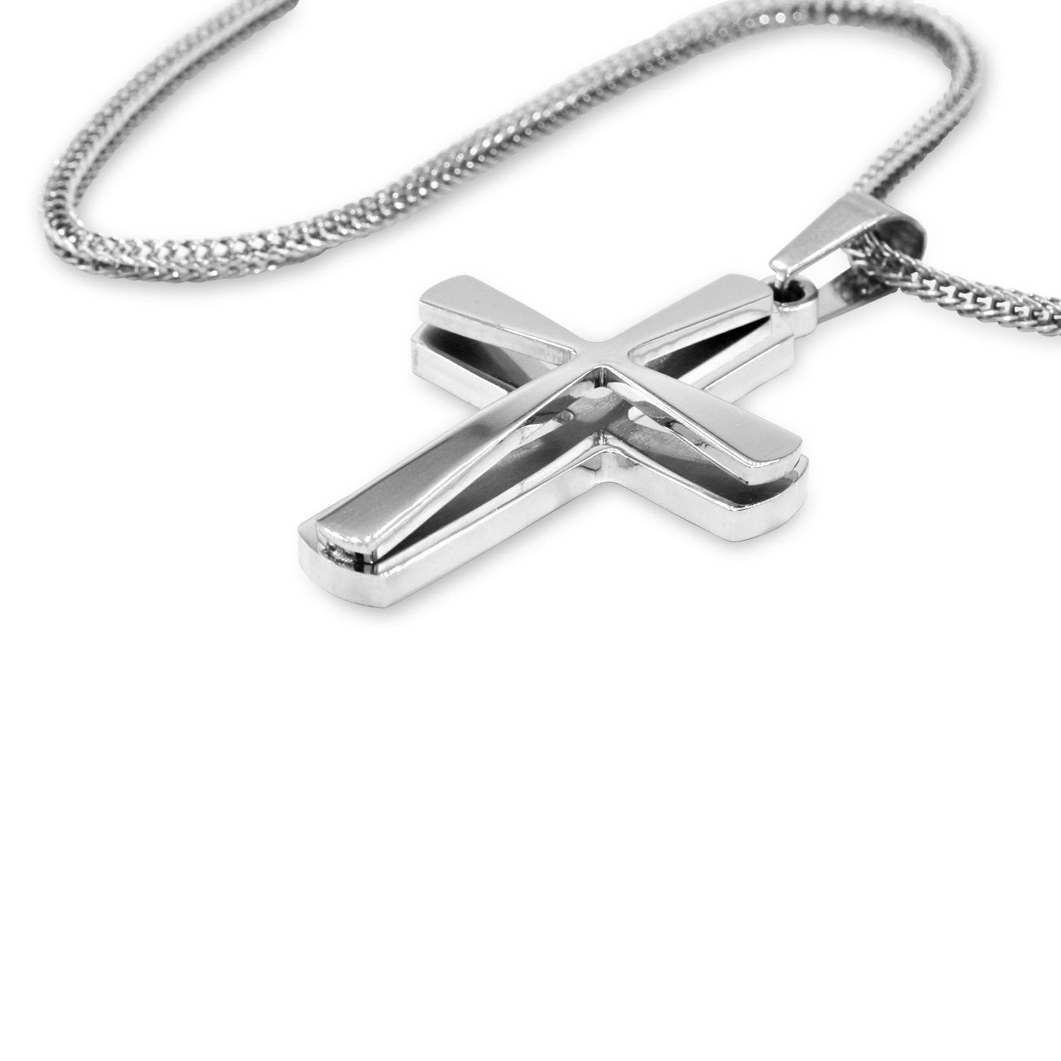 Cross Pendant Stainless Steel Double Layer Men Prayer Cross Bead Charm Fashion Jewelry