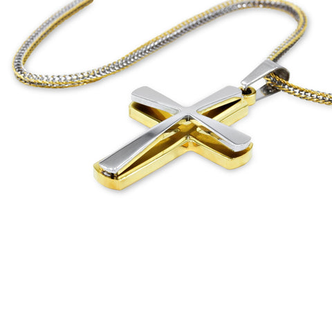 Unique Stainless Steel Double Layer Designer Cross Pendant