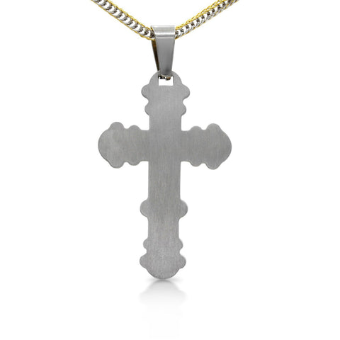 Unique Stainless Steel Designer Double Layer Cross Pendant