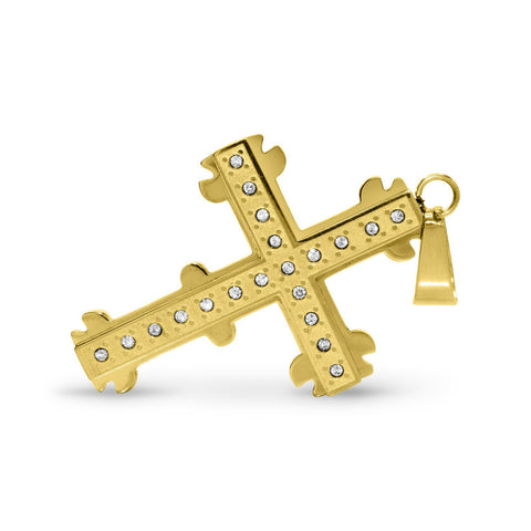 Unique Design Stainless Steel CZ Cross Pendant