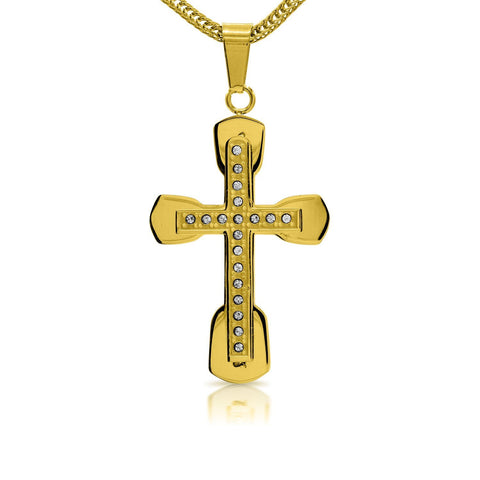 Unique Stainless Steel CZ Designer Cross Pendant