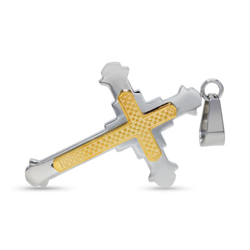 Stainless Steel Checkered Designer Cross Pendant