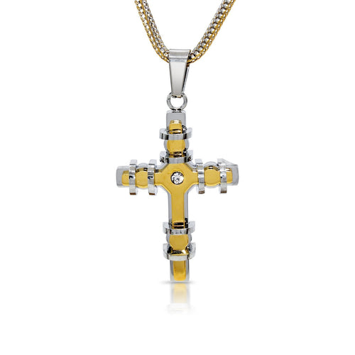 Stainless Steel Designer Cross 3D Pendant with Cubic Zirconia