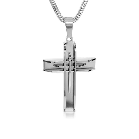 Stainless Steel Designer 3D Cross Pendant Necklace