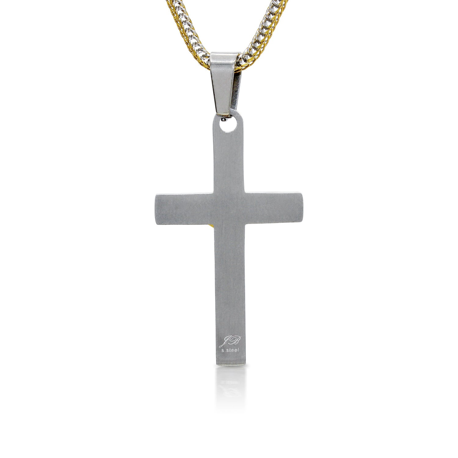 Stainless Steel Designer Wood Texture Crucifix Pendant
